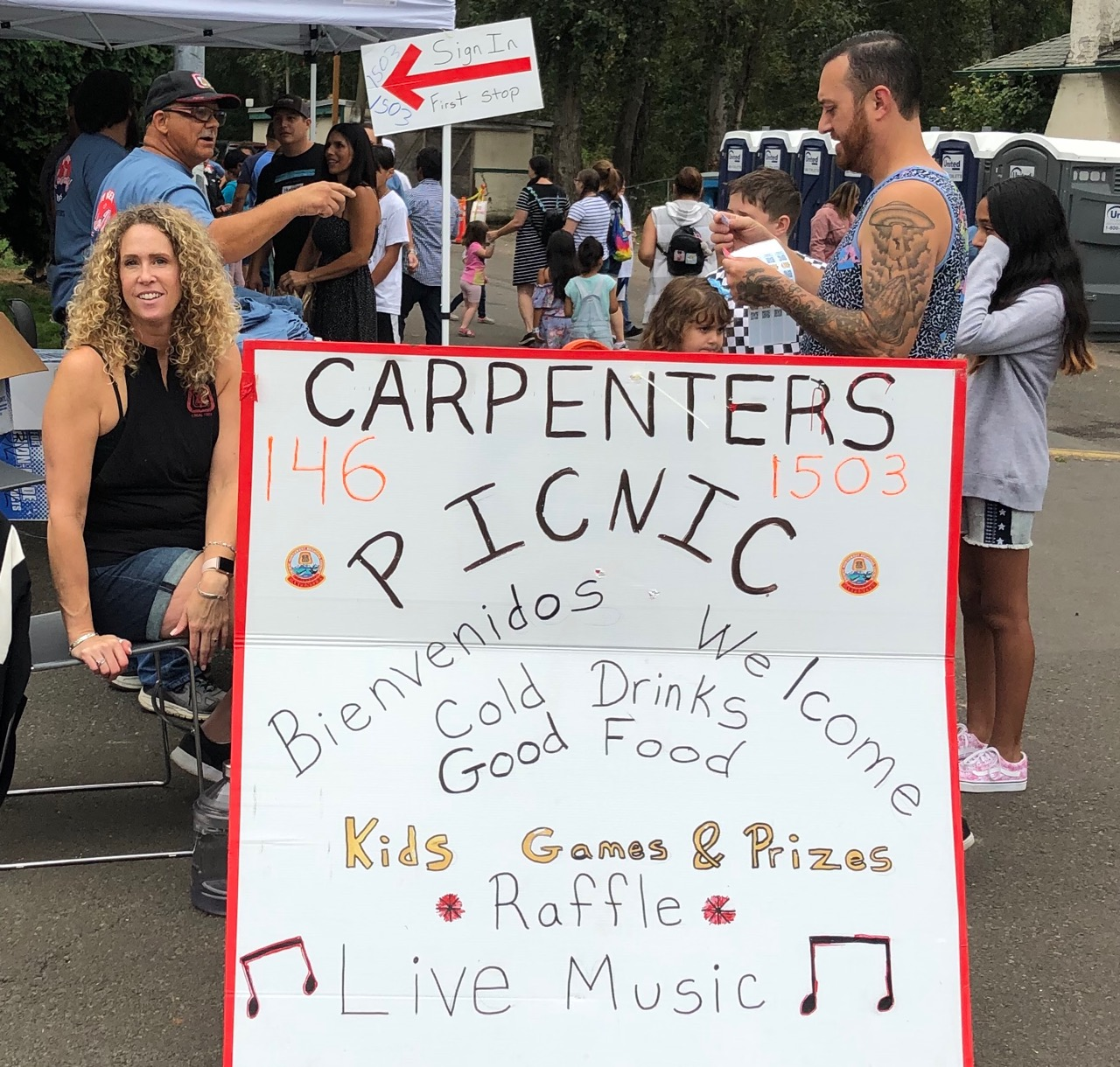 Carpenter picnic welcome sign